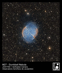 August 2014 - Dumbbell Nebula image taken in the OAJ with JAST/T80 telescope and FLC80 verification camera