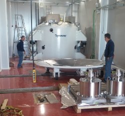 May 2016 - The aluminizing vacuum chamber and the cleaning unit arrive at OAJ after the final acceptance tests at the factory