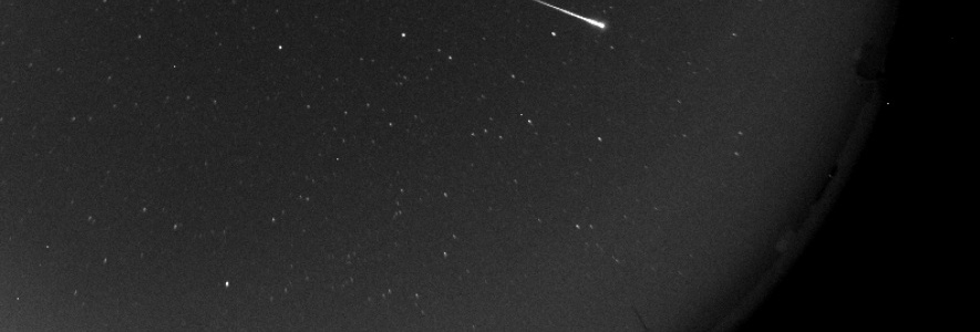 Bolide captured by the All-Sky camera at the OAJ (cropped image) on the night of the 27<sup>th</sup> of July been part of the Perseids. The dome of JST/T250 can be seen as well.