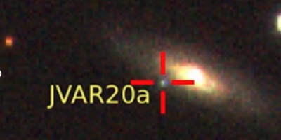 Detection of JVAR20a, whose position is indicated by a cross in the image. Credit: Centro de Estudios de Física del Cosmos de Aragón (CEFCA)